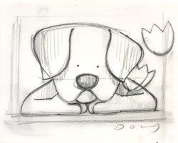 Spring Watch Sketch by Doug Hyde - Original Drawing on Mounted Paper sized 7x5 inches. Available from Whitewall Galleries