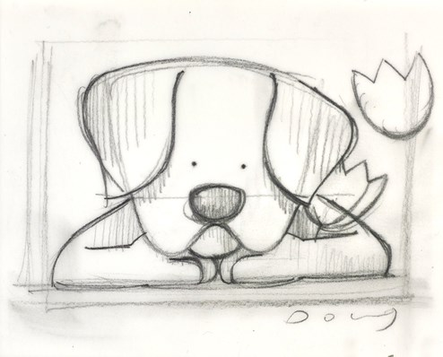 Spring Watch Sketch by Doug Hyde - Original Drawing on Mounted Paper